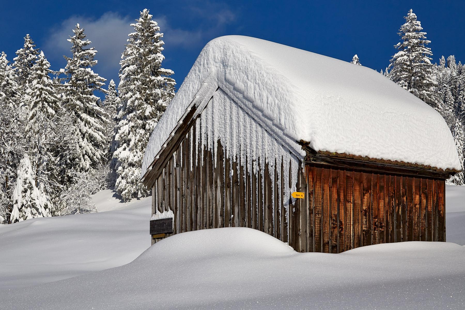 Alphütte Fähnern Winter Schnee Alpstein Winter